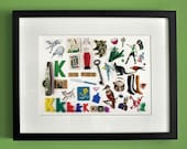 Limited Edition Alphabet Collage Print With Mount: K Is For...  Original, Vintage-Themed, Unframed