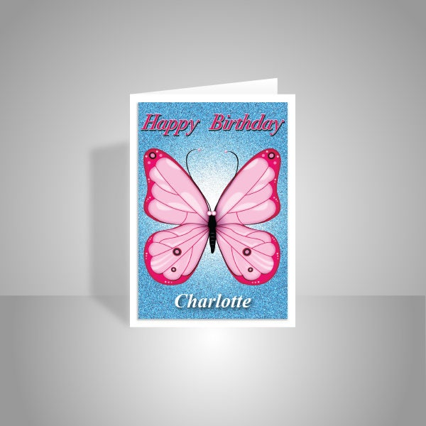 Butterfly Personalised Birthday Card For Girl Her Edit Name Happy Birthday Wishes Butterfly