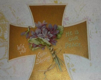 ON SALE till 7/28 Gold Easter Cross With Violets  Antique Card NISTER