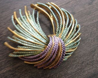 Gold Tone Lavender and Green Fireworks/Tassel Brooch