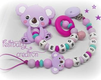 Ensemble cadeau Koala, Greifling, personalized silicone teether, cadeau de naissance
