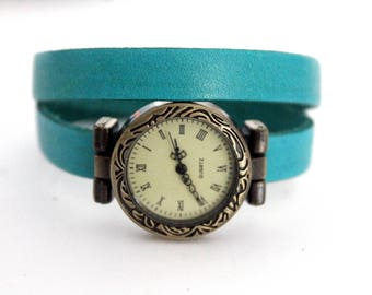 Turquoise leather strap watch two laps adjustable with bronze dial