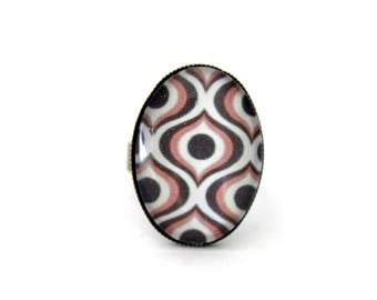 """Oval """"alveoli Brown and pink"""" Bohemian ring adjustable retro brass cabochon"""