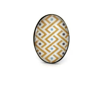 """Oval """"graphic yellow and turquoise braid"""" Bohemian ring adjustable retro brass cabochon"""