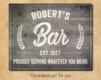 Personalised Any Name Date Vintage Retro Bar Metal Sign 20x25cm Wood Effect Background Wall Art Bedroom Door Sign Birthday Christmas Gift