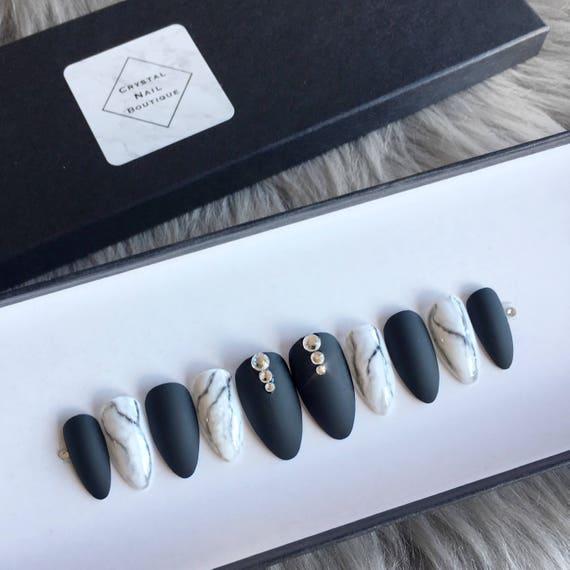 Black matte marble press on nails • Swarovski crystal • matte nails ...