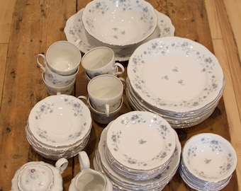 """Johann Haviland """"Blue Garland"""" Bone China Dinnerware Set for Eight with Serving pieces, Thanksgiving / Holiday Dinner Service, Wedding Gift"""