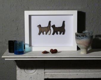 Framed Smoke Fired Ceramic Cats