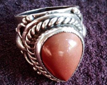 Regalite Jasper Ring, Rustic Rings For Women, Unique Ring, Natural Stone, Rustic Jewelry, Artisan Ring, Stone Ring, Sz 8 1/2