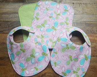 Baby Bib and Burp Cloth Set - Butterfly