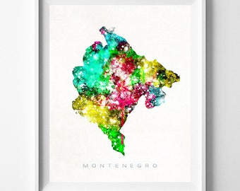 Montenegro Map Print, Podgorica Print, Montenegro Poster, Watercolor Painting, Map Art, Wall Decor, Travel, Valentines Day Gift