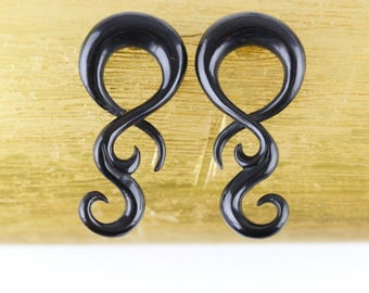 Long Twisters Hanging Black Plugs - Stretched Plugs Horn Twisting Hangers - B041