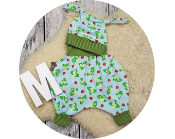 Newborn baby set, gift, bloomers, hat, node cap, harem pants, pants, baby pants, baby, Mitwachsen pants, strawberry, strawberries, Strawberry
