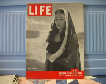 76 years ago Gene Tierney  Cover Life Nov 10 1941  pre WWII