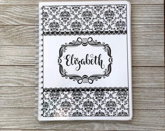 Salon Yearly Appointment Book with Income Tracking - Damask Design - Personalized