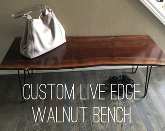 Modern Live Edge Bench - Entryway Bench  - Live Edge - Bench - Walnut - Hairpin Legs - Midcentury Modern