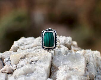 Malachite and Sterling Silver Ring Size 9