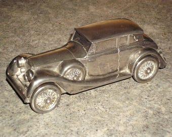 Vintage 70s Goldtone Metal Car Bank