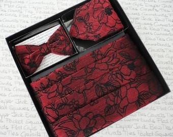 Cummerbund, bow tie and pocket square set