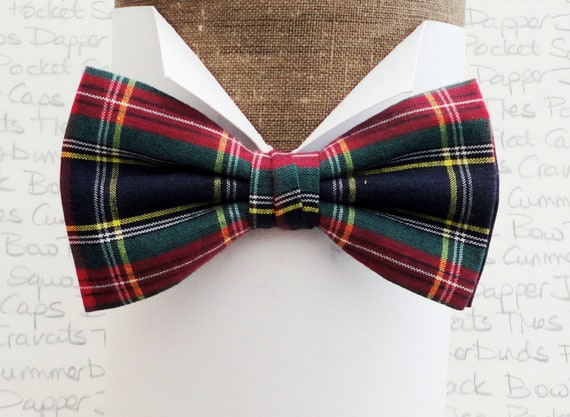 Blue and red tartan bow tie, bow ties for men