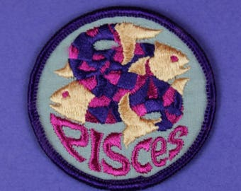 Pisces Zodiac Sign Vintage 1970s NOS Patch
