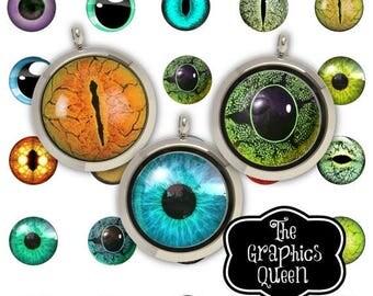80% off 4th of July Sale Animal Eyes Digital Eyes  30 mm Circle Digital Download Circles Printable Images Digital Collage Sheet  Jewelry mak