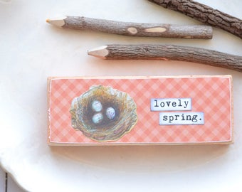 Coral Peach Gingham Lovely Spring Sign. Wood Sign. Gingham. Coral Wood Sign. Script Font Hello. Birds Nest Spring Wood Sign. Lovely Spring.