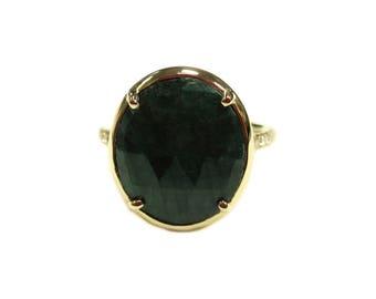 Green Sapphire and Diamond Halo Ring in 14K Gold (10.58 ct Green Sapphire, 0.20 ctw Diamonds)