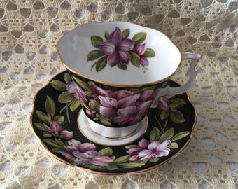 Royal Albert Azalea Bone China Cup And Saucer, Bouquet Series, Azalea Pattern, Made in England