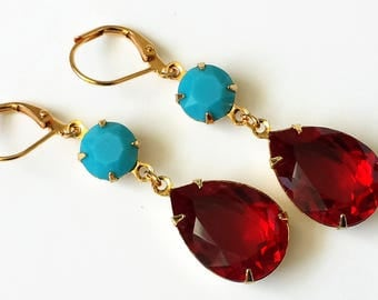Red Crystal Drop Earrings Swarovski Double Drop Earrings Red and Turquoise Gold Drop Earrings Wedding Bridesmaids Jewelry Crystal Jewelry