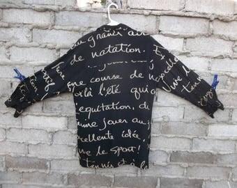 Vintage Blouse Shirt 100% Silk Fonts Language Conceptual 1980s 90s sz Large