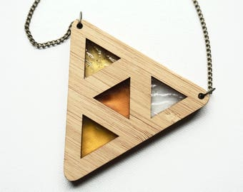 Yellow Stained Glass Triangle Wooden Pendant Necklace- Stained Glass Necklace