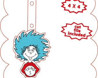 Seuss' Thing 1 keyfob ith snaptab twin of thing 2 and playmate of cat in the hat embroidery design