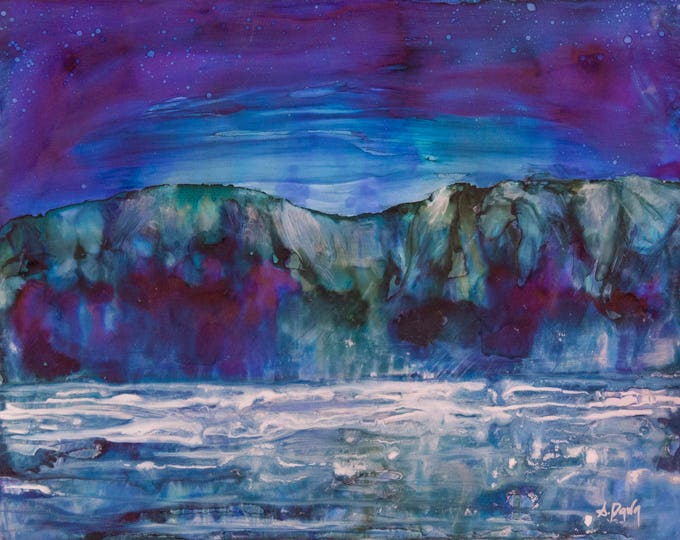 Mountain Lake Painting-Night Sky Art-Navy Blue Wall Art-Original Painting-Mystical Decor-Matted Art-Home Decor Gifts-Watercolor Home Decor