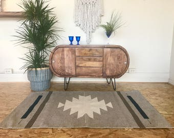 Handmade Modern Handwoven and Natural Dyed Zapotec rug from Oaxaca