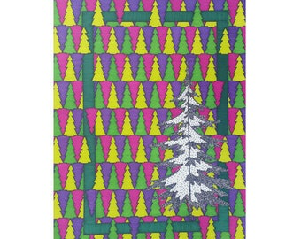 Christmas Tree Card, Blank 5x7 Card, Thank You Note, Holiday Greeting, Modern Art, Green Pink Purple, Pine Tree, Card For Her, Seasonal
