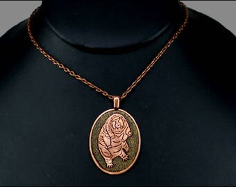 Etched and Colored Copper Tardigrade Design Necklace