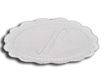 "Embroidery patch ""Letter N"" Monogram white"