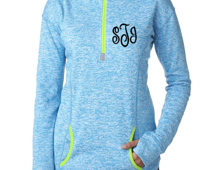 Monogram Shirts . Womens Long sleeves monogram bright colored tops .Ladies Half Zip Up Monogrammed pullover.  3x,2x,xl, large, medium, small