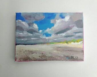 original acrylic painting, beach painting, sea painting, summer painting, cloud painting, small painting, acrylics on canvas, mini canvas