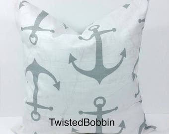 SALE Pillow cover. Gray and white pillow cover.18x18. Anchor. Designer pillow. Gray.cushion cover