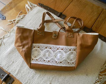 Leather tote bag soft caramel color