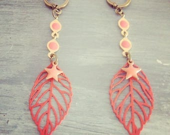 Fancy ethnic bronze earrings leaf pendants and stars