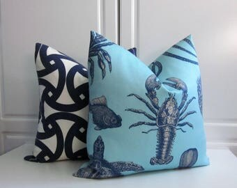Thomas Paul Decorative Pillow Cover-Loster-Marine Sealife-Indoor/Outdoor-Indigo & Sky Blue-18x18,20x20