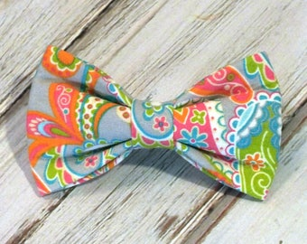 SALE, Size Small Ready to Ship Paisley Dog Bow Tie, pet bow tie, collar bow tie, wedding bow tie