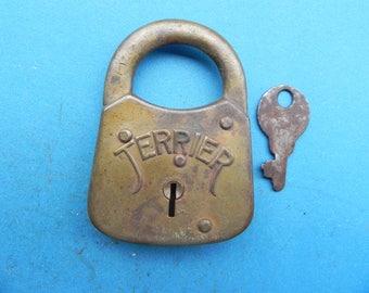 """Vintage """"TERRIER"""" Padlock W/ Key."""