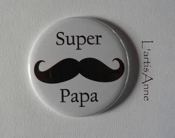 Super Dad Magnet / door key/bottle opener magnetic bottle opener / Badge pin 56mm.