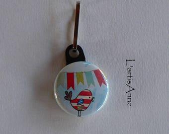 Zipper Zip zipper bird flags Badge Strap.
