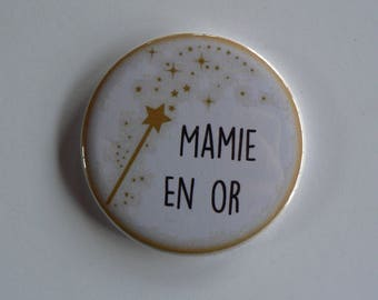 Grandma gold Magnet / Pocket mirror / Badge pin gift Grandma grandmother.