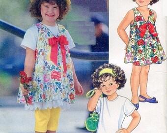 Eclipse SALE 1990s Little Vogue 8016 Toddler Girls A-line Jumper, Drop Waist T-Shirt Dress Ruffle & Leggings Sewing Pattern Size 1 2 3 Uncut